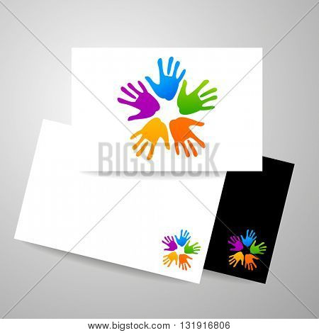 Concept of community unity. Unity logo template. Identity design. Business card design.  Vector graphic illustration.