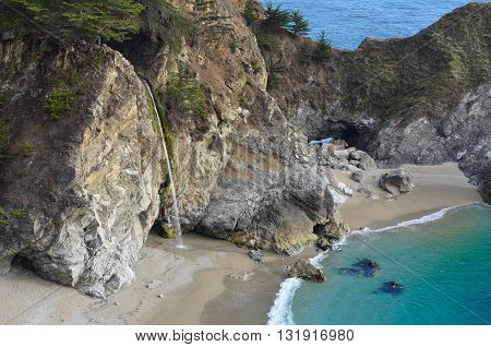 Big Sur Beach, McWay Falls at Julia Pfeiffer Burns State Park. California USA