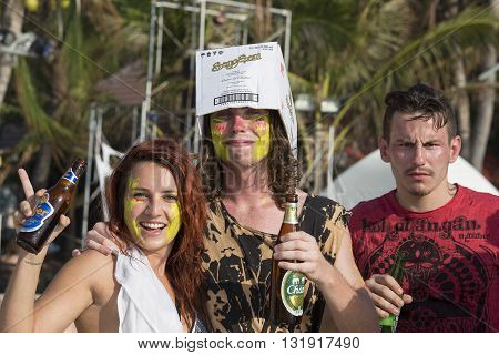 PHANGAN THAILAND - JANUARY 5 2015 :Unidentified people participate in the Full Moon party on island Koh Phangan. The event now attracts anywhere from 40000 party-goers on a normal month