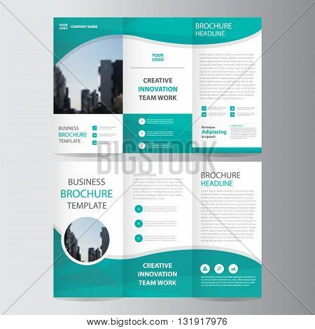 Green triangle business trifold Leaflet Brochure Flyer report template vector minimal flat design set, abstract presentation layout templates a4 size
