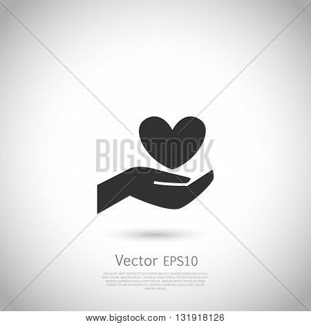 Hand holding heart symbol, sign, icon, logo template for charity, health, voluntary, non profit organization. Vector.
