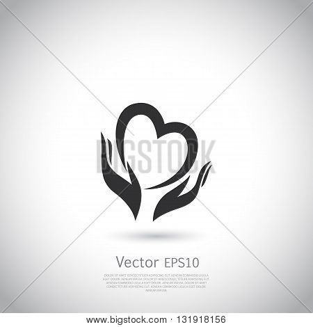 Hands holding heart symbol, sign, icon, logo template for charity, health, voluntary, non profit organization. Vector.