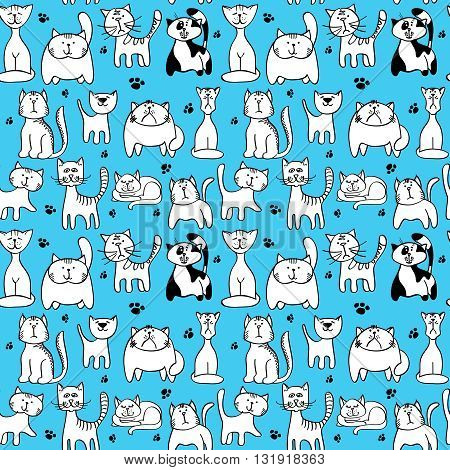 Vector seamless pattern with cute cats. Animal character cat muzzle and backdrop with feline cat and footprint illustration