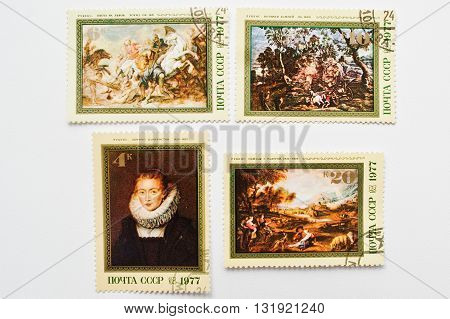 Uzhgorod, Ukraine - Circa May, 2016: Collection Of Postage Stamps Printed In Ussr Shows Works Of Sir