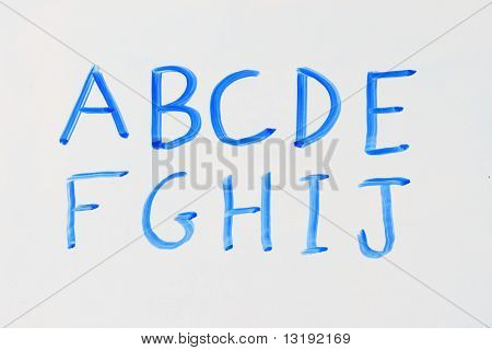 Blue White Board Alphabet A - J