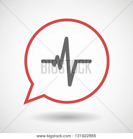 Isolated Line Art Comic Balloon With A Heart Beat Sign