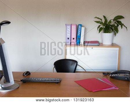 Office Desk With Laptop Job Or Business Concept