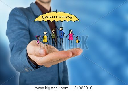 Family life insurance and proprety insurance protecting family family concepts.Man and woman hands making protection gesture.