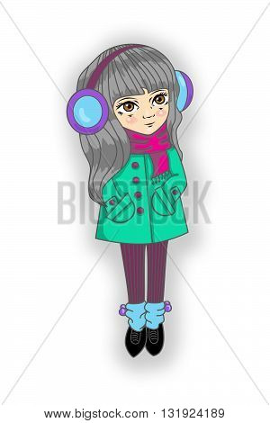 girl with long gray hair in a coat and scarf and gaiters with headphones earmuffs isolated