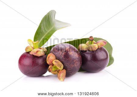 Mangosteen Fruit Isolated On White