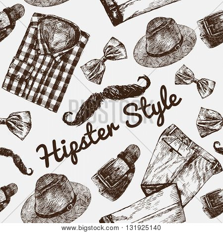 Vector Hipster Style Set #3. Hipster accessories in retro sepia style on white background. Seamless pattern.