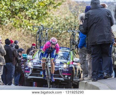 Conflans-Sainte-Honorine, France - March 6 2016: The Slovenian cyclist Marko Kump of Lampre-Merida Team riding during the prologue stage of Paris-Nice 2016.
