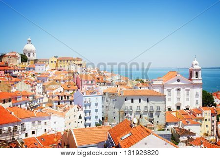 view of Alfama old town at sunny day, Lisbon, Portugal, retro toned