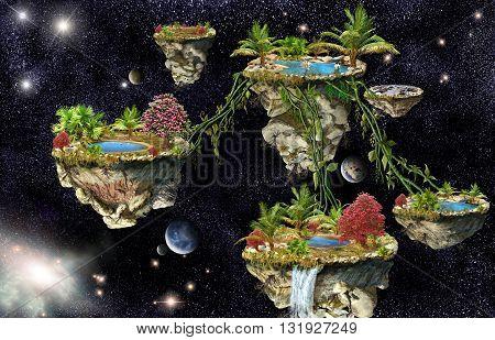 Fantasy world islands on a dark space background