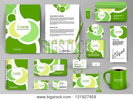 Professional universal branding design kit with green circles. Best for ecology save concepts, summer cafe or hotel. Corporate identity template. Business stationery mockup with folder, mug, etc.