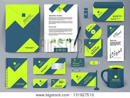 Professional universal branding design kit with green and blue geometry forms like mountain or infographic. Corporate identity template. Business stationery mockup with folder, mug, etc.