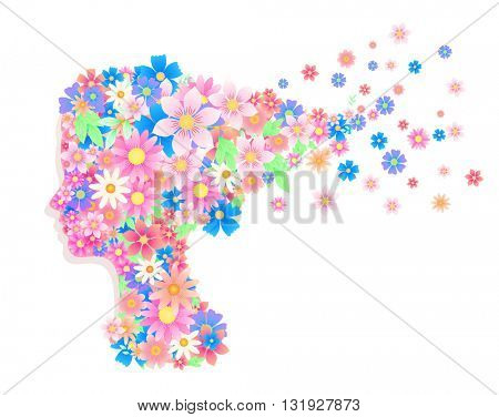Woman head silhouette with hairstyle including colorful floral elements. Best use for boutique stock, wear house, cosmetics shops, beauty medical clinic. Pink, red, orange and blue colors.