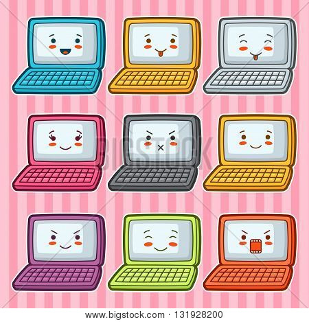 Kawaii doodle laptops set. Illustration of gadgets with various facial expression. poster