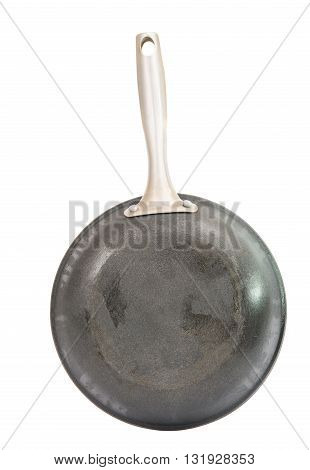 black frying pan isolated on white background