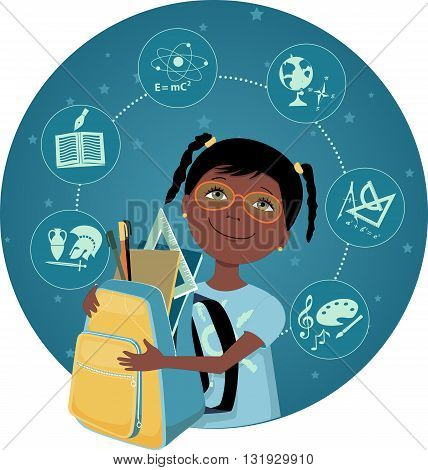 Cartoon school girl with a backpack, filled with school tools, school subjects icons on the background