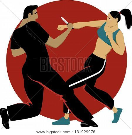 Woman paired-off with a man fights in a self defense practice session