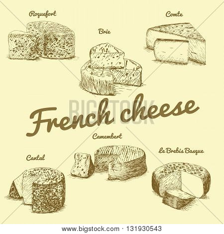 Vector illustrated Set #3 of French Cheese Menu. Illustrative sorts of cheese from France.