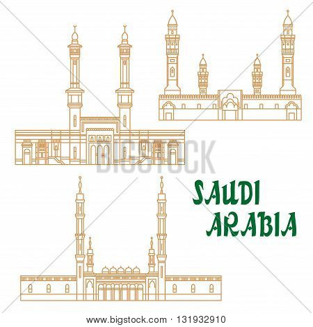 Islamic heritage sites of Saudi Arabia linear icon for religious architecture and tourism design usage with Masjid al-Haram, Masjid an-Nabawi and Quba Mosque