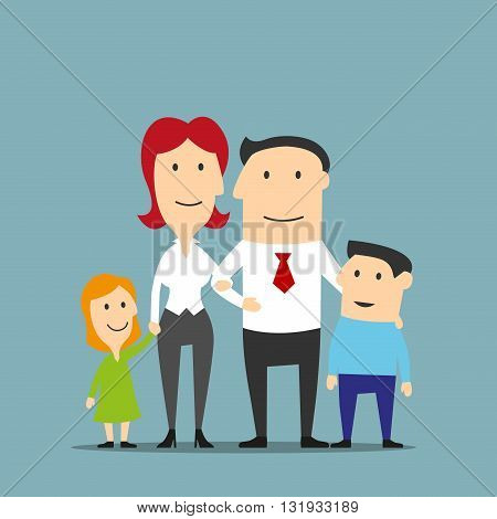 Happy cartoon family business couple are posing with two cute kids. Family portrait of smiling father and mother, little daughter and son. Family, love, parenthood and marriage themes design usage