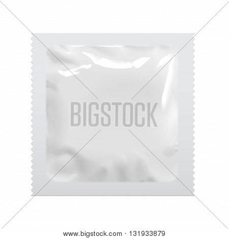Realistic White Blank template Packaging Foil wet wipes Pouch Medicine Or Condom. Food Packing Coffee Salt Sugar Pepper Spices Sweets. Template For Mock up Your Design. vector illustration.