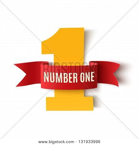 Number one background on white. Number one ribbon. Number one Poster or brochure template. Vector illustration