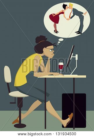 Online dating. Frustrated young woman sitting at her computer with a glass of wine, dreaming of being in a relationship