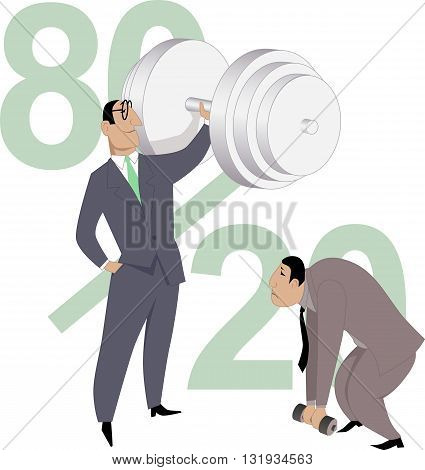 Pareto Principle. A businessman easily pushing a giant dumb-bell while his colleague can not lift a small one, proportion eighty-twenty on the background