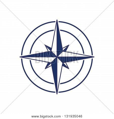 Blue compass icon inside circle vector illustration isolated on white background.