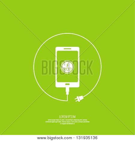 Abstract background with charge eco power. usb cable is connected to the phone. Vector. smartphone is connected usb cable. Eco power. Eco energy. Renewable green energy.