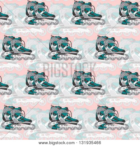 Seamless vector pattern with roller skates on a pink background. Can be used for graphic design, textile design or web design.