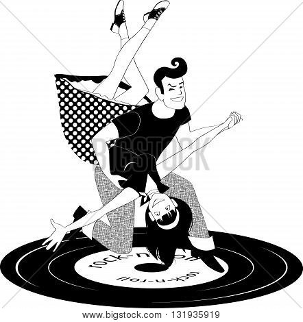 Cartoon couple in 1950s style clothes dancing rock'n'roll