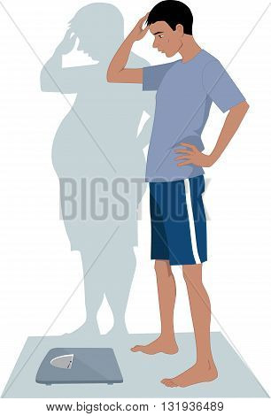 Male Anorexia. Young skinny man anxious to step on a scales because of his distorted body image