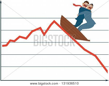 Market fluctuation. Two terrified businessman in a boat going down with a market trend, vector illustration