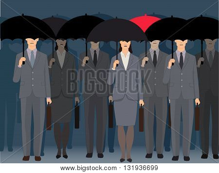 Non-conformism. A man with a red umbrella standing an a crowd of faceless business people under black umbrellas, vector illustration poster