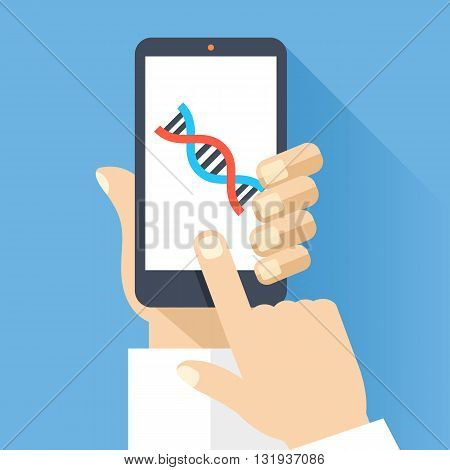 Hand holds smartphone with DNA icon on smartphone screen. Scientific research, medical research concept. Modern simple flat design for web banners, web site, infographics. Creative vector illustration