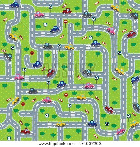 Seamless pattern or background or labyrinth with roads, cars and traffic signs. Children vector illustration.