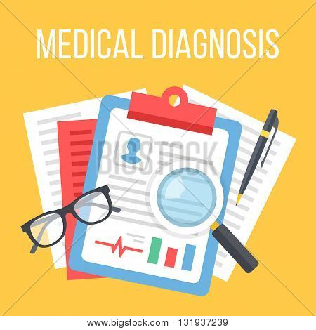 Medical diagnosis flat illustration. Diagnosis, clinical record, medical record concepts. Flat design elements for web banners, web sites, printed materials, infographics. Creative vector illustration
