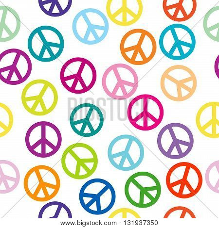 Colorful background with peace sign,  seamless pattern