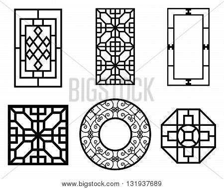 Set of Chinese window with pattern vector ornament