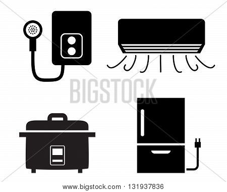Water heater air conditioner rice cooker icons vector