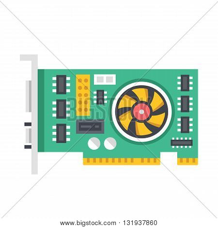 Vector video graphics card. Video card vector illustration