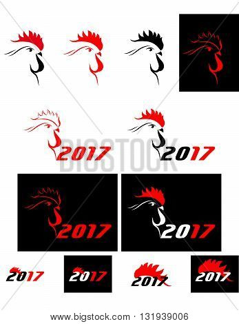 set of abstract big red and black cock 2017. new year. vector