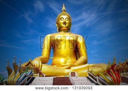 Buddha image with blue sky background,buddha image.