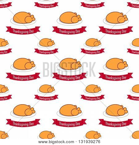 seamless pattern with fried chicken for Thanksgiving on the white background. vector. flat