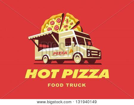 Food truck illustration, pizza sale, logo design